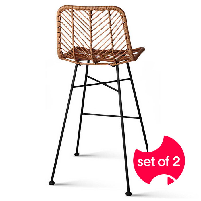 Set of 2 PE Wicker Bar Stools - Natural | FREE DELIVERY - OzChairs.com.au™