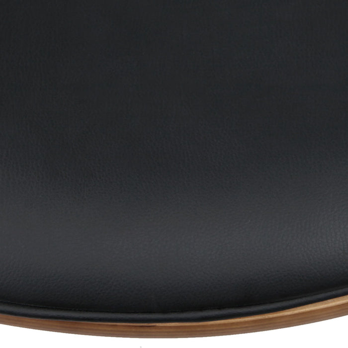 Set of 2 Leather and Wooden Bar Stools - Black | FREE DELIVERY - OzChairs.com.au™