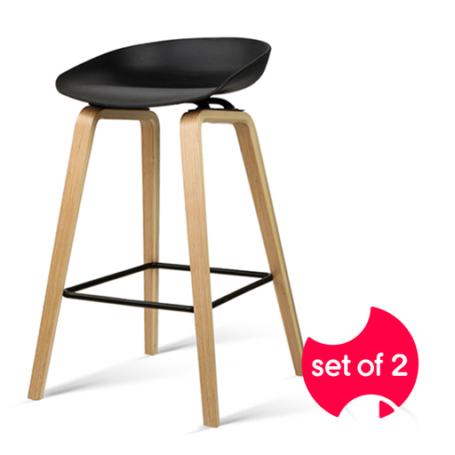 Set of 2 Wooden Backless Bar Stool with Metal Footrest - Black | FREE DELIVERY - OzChairs.com.au™
