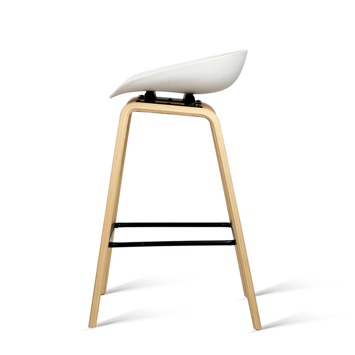 Set of 2 Wooden Backless Bar Stool with Metal Footrest - White | FREE DELIVERY - OzChairs.com.au™