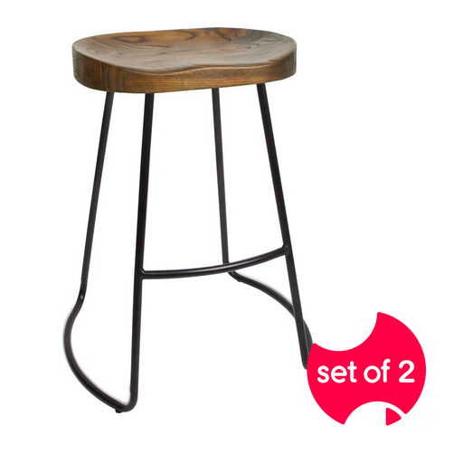 Set of 2 Vintage Industrial Tractor Bar Stools - Black | FREE DELIVERY - OzChairs.com.au™