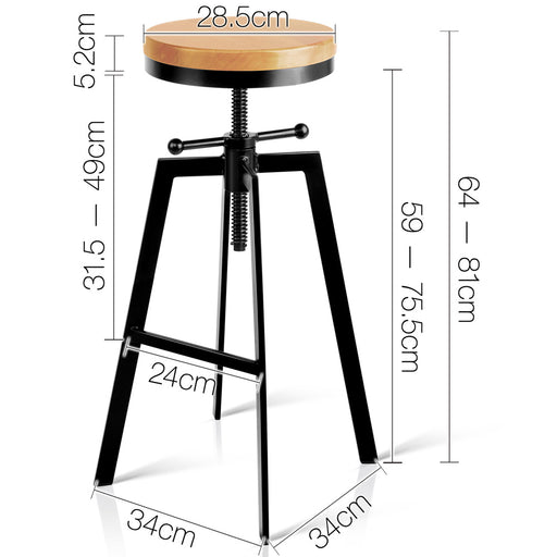 Industrial Adjustable Height Swivel Bar Stool - Black | FREE DELIVERY - OzChairs.com.au™