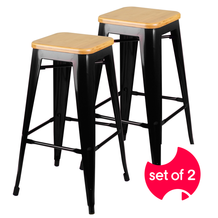 Set of 2 Bamboo Backless Bar Stools - Black | FREE DELIVERY - OzChairs.com.au™