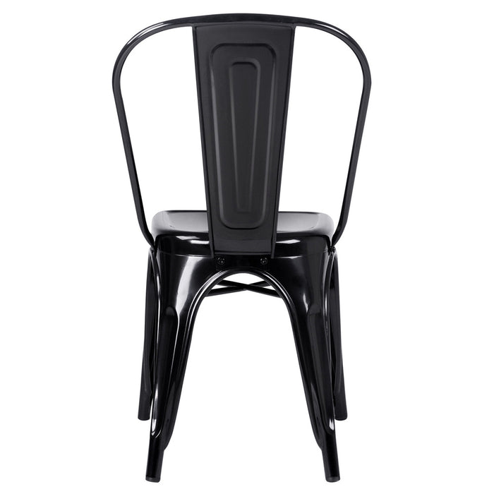 Set of 4 Steel 'Tolix' Inspired Chairs- Gloss Black | FREE DELIVERY - OzChairs.com.au™