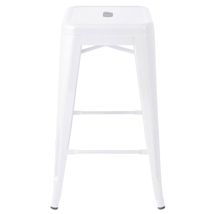 Set of 4 Steel Metal Backless Bar Stools - White | FREE DELIVERY - OzChairs.com.au™
