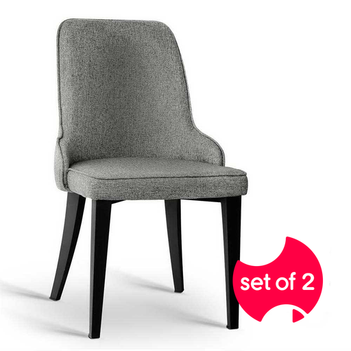 Set of 2 Contemporary Linen Fabric Dining Chairs - Grey | FREE DELIVERY - OzChairs.com.au™