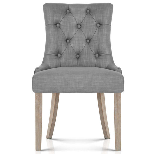 French Provincial Linen Dining Chair- Grey | FREE DELIVERY - OzChairs.com.au™