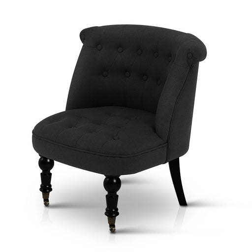 Linen Occasional Accent Chair - Black | FREE DELIVERY - OzChairs.com.au™