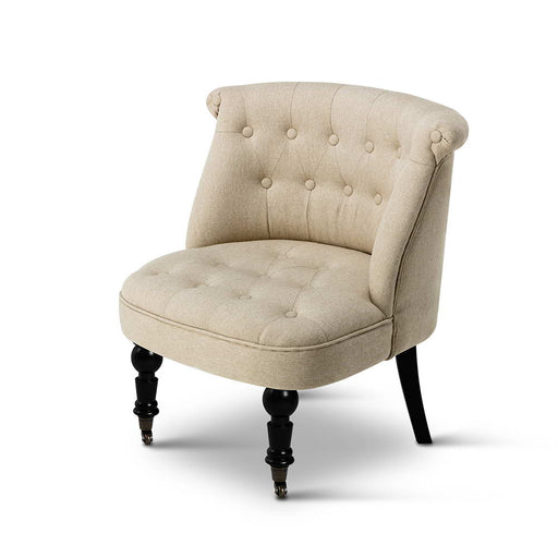 Linen Occasional Accent Chair -Taupe | FREE DELIVERY - OzChairs.com.au™