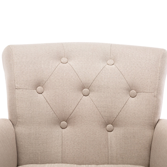 French Inspired Wing-Back Armchair - Taupe | FREE DELIVERY - OzChairs.com.au™