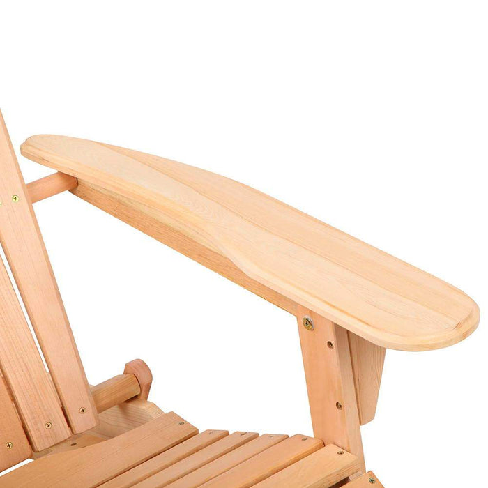 Solid Timber Adirondack Lounge Chair - Natural | FREE DELIVERY - OzChairs.com.au™