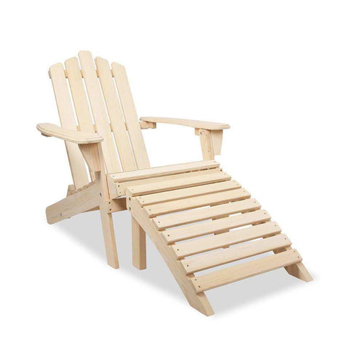 Solid Timber Foldable Adirondack Chair with Ottoman - Natural | FREE DELIVERY - OzChairs.com.au™