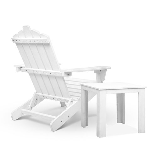 2 Piece Solid Timber Outdoor Foldable Adirondack Chair and Table Set - White | FREE DELIVERY - OzChairs.com.au™