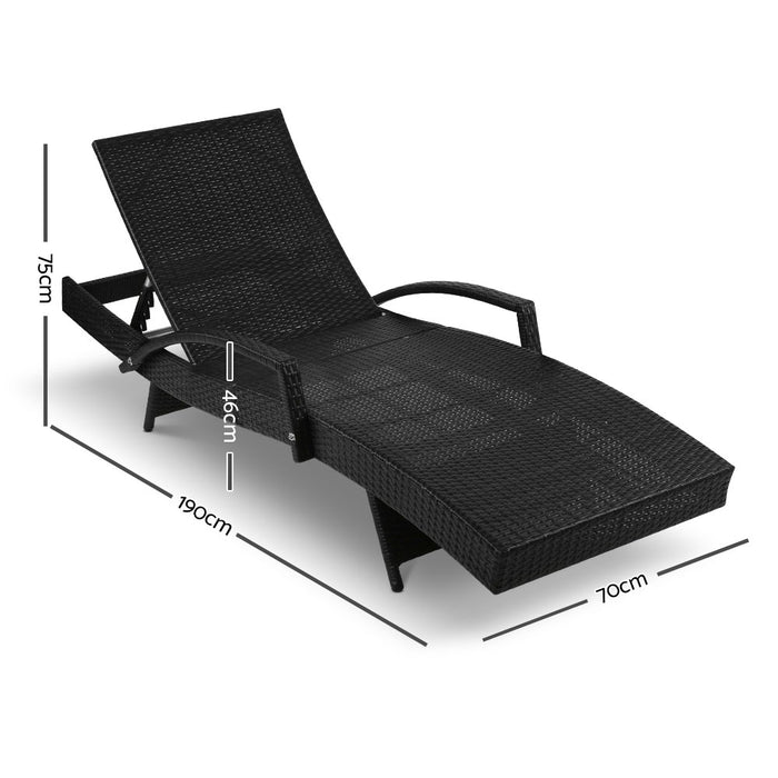 Premium Outdoor Wicker Sun Lounge - Black | FREE DELIVERY - OzChairs.com.au™