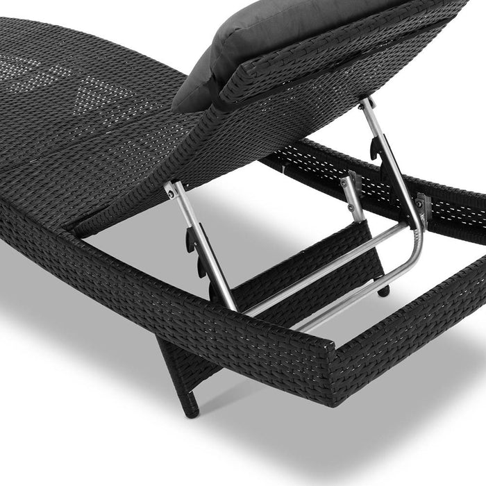 Set of 2 Outdoor Wicker Sun Lounges - Black | FREE DELIVERY - OzChairs.com.au™
