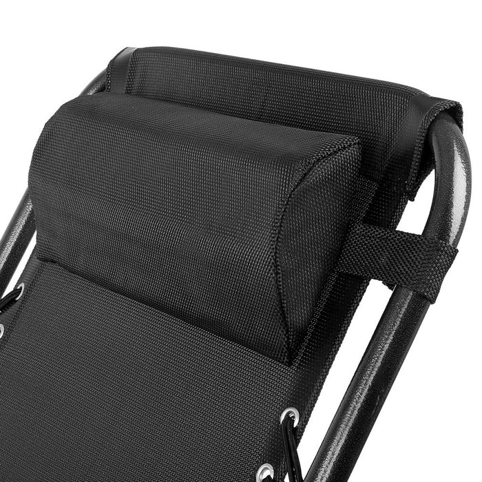 Stylish Outdoor Portable Garden Recliner - Black | FREE DELIVERY - OzChairs.com.au™