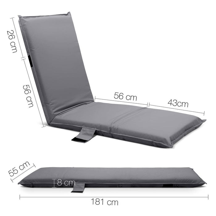 Adjustable Beach Sun Pool Lounger - Grey | FREE DELIVERY - OzChairs.com.au™