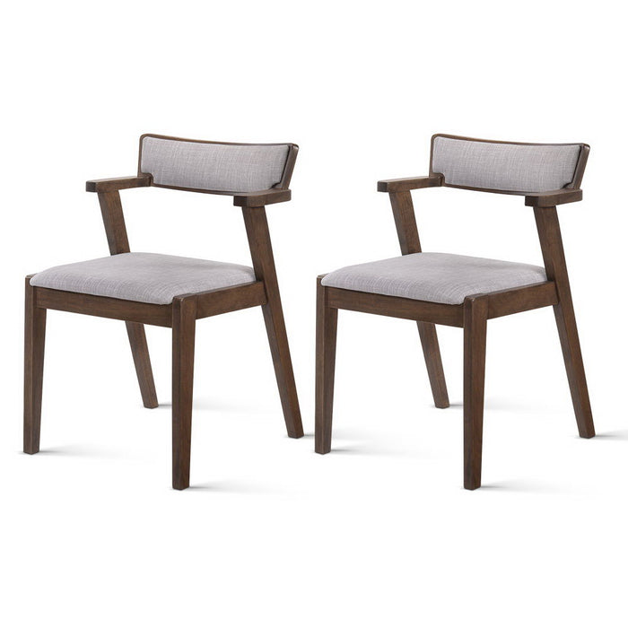 Set of 2 Retro Style Wooden Dining Chairs - Grey & Walnut | FREE DELIVERY - OzChairs.com.au™
