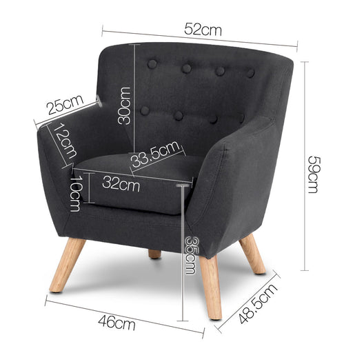 Kids Fabric Accent Armchair - Black | FREE DELIVERY - OzChairs.com.au™
