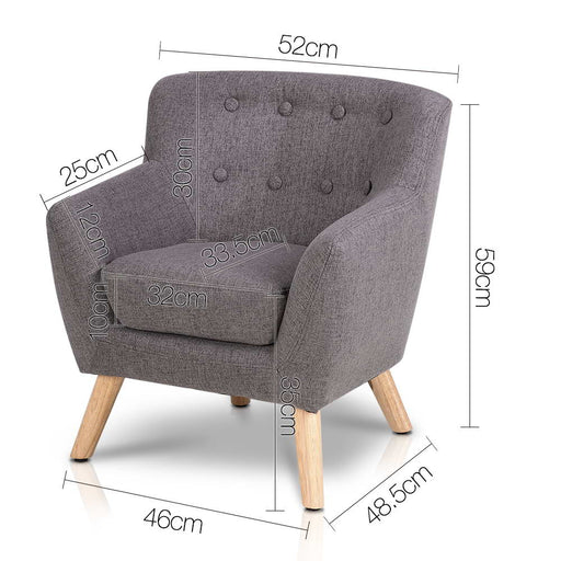 Kids Fabric Accent Armchair - Grey | FREE DELIVERY - OzChairs.com.au™