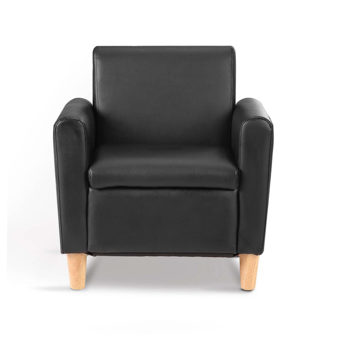 Kids PU Leather Armchair - Black | FREE DELIVERY - OzChairs.com.au™