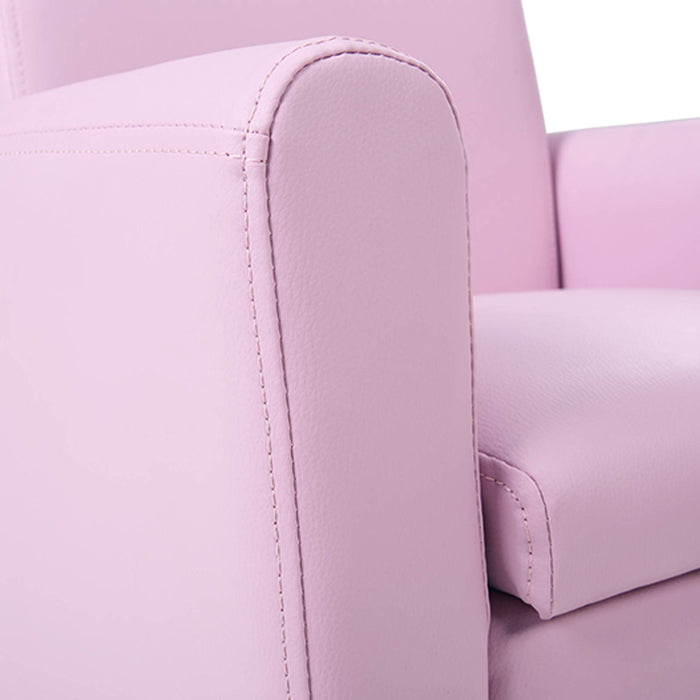 Kids PU Leather Armchair - Pink | FREE DELIVERY - OzChairs.com.au™