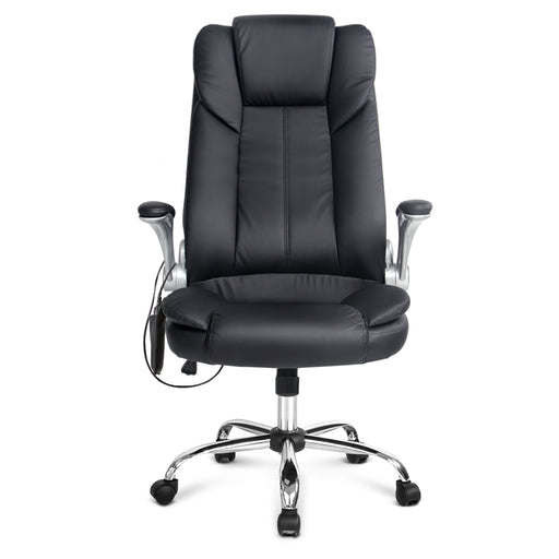 PU Leather Reclining 8-point Massage Office Chair  - Black | FREE DELIVERY - OzChairs.com.au™