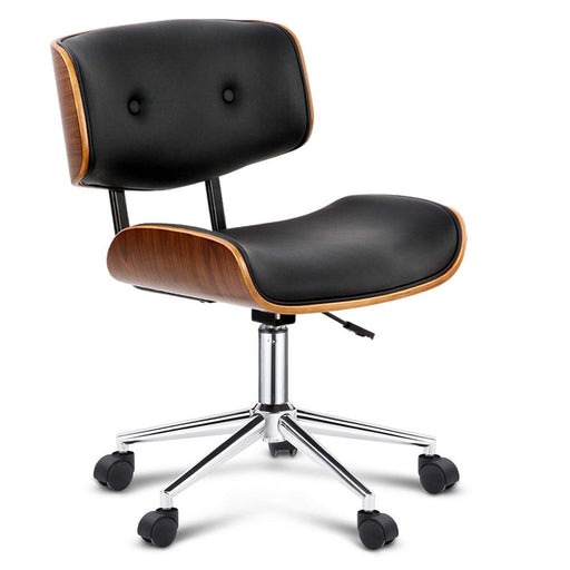 Wooden & PU Leather Executive Office Chair - Black and Walnut | FREE DELIVERY - OzChairs.com.au™