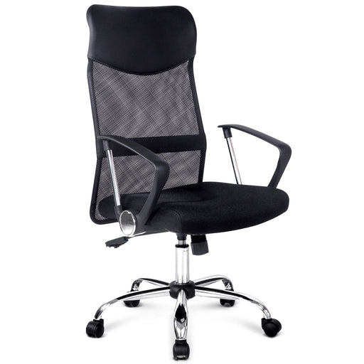 PU Leather Mesh High Back Executive Office Chair - Black | FREE DELIVERY - OzChairs.com.au™