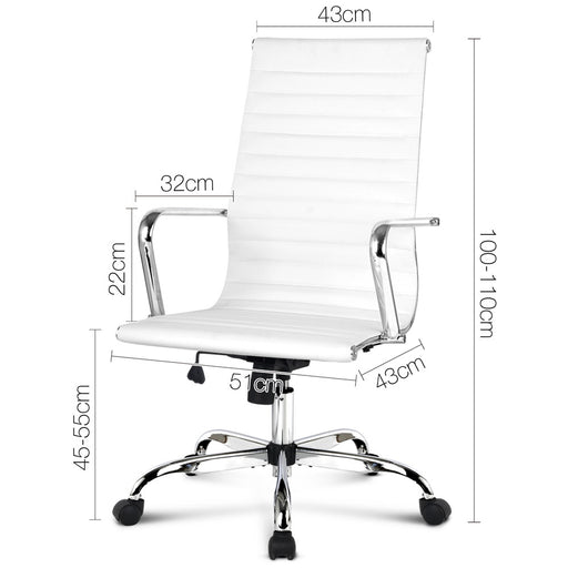 PU Leather High Back Office Desk Chair - White | FREE DELIVERY - OzChairs.com.au™