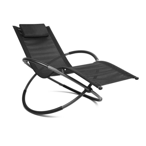 Zero Gravity Foldable Orbital Lounger - Black | FREE DELIVERY - OzChairs.com.au™