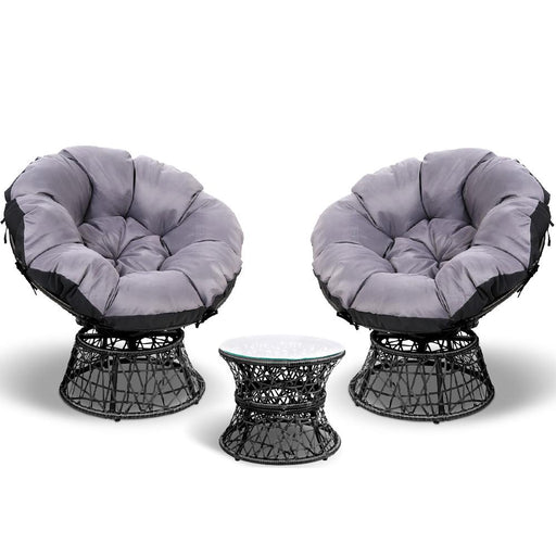 3 Pce Papasan Chair and Side Table Set - Black | FREE DELIVERY - OzChairs.com.au™