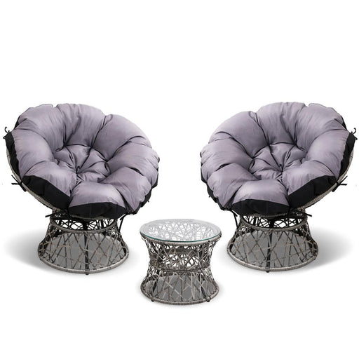 3 Pce Papasan Chair and Side Table Set - Grey | FREE DELIVERY - OzChairs.com.au™