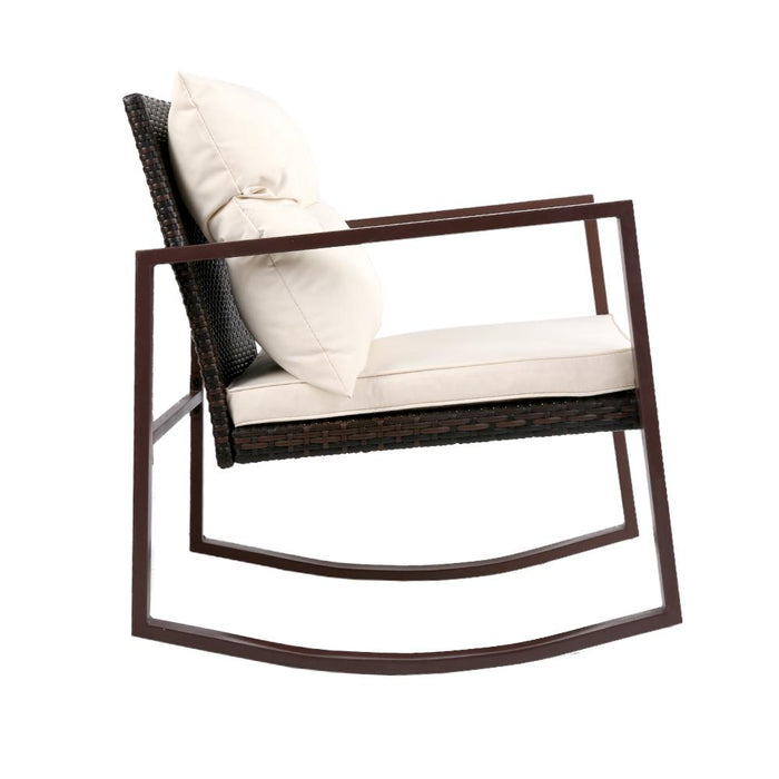 Contemporary Outdoor Rocking Chair Set - Coffee | FREE DELIVERY - OzChairs.com.au™