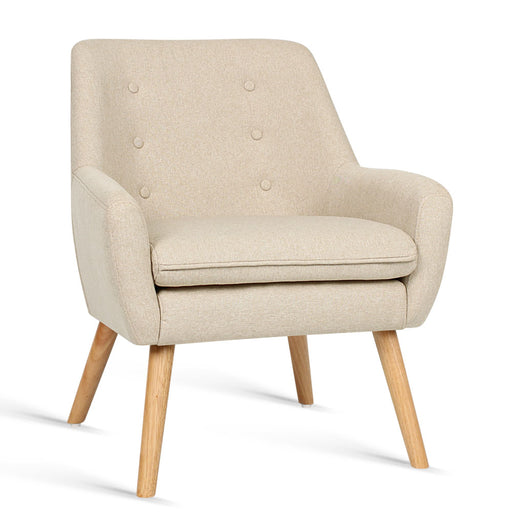 Contemporary Fabric Dining Armchair - Sand | FREE DELIVERY - OzChairs.com.au™