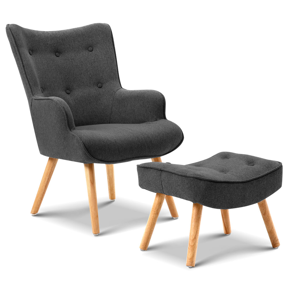 Scandinavian Linen Armchair and Ottoman - Charcoal | FREE DELIVERY - OzChairs.com.au™