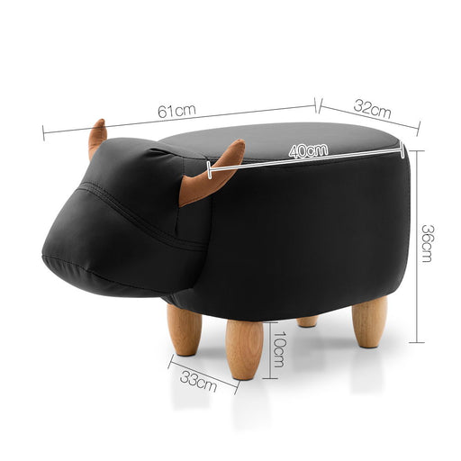 Kids Cow Animal Stool - Black | FREE DELIVERY - OzChairs.com.au™