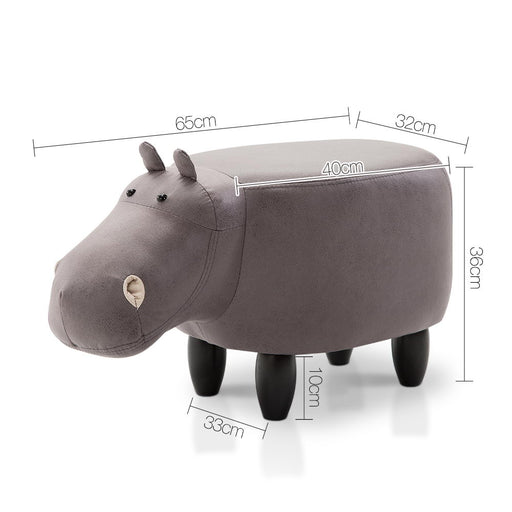 Kids Hippo Animal Stool - Grey | FREE DELIVERY - OzChairs.com.au™