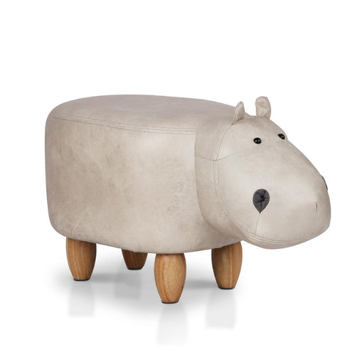 Kids Hippo Animal Stool - Warm Grey | FREE DELIVERY - OzChairs.com.au™