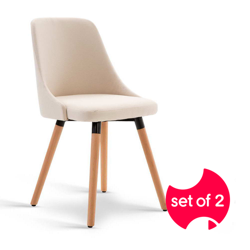 Set of 2 Fabric Dining Chairs - Sand | FREE DELIVERY - OzChairs.com.au™