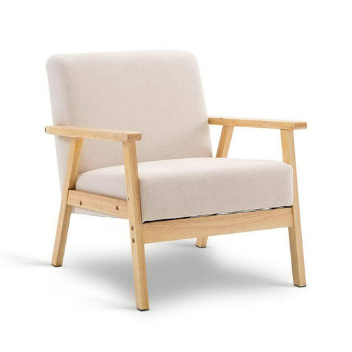 Deluxe Wide Fabric Arm Chair - Sand | FREE DELIVERY - OzChairs.com.au™