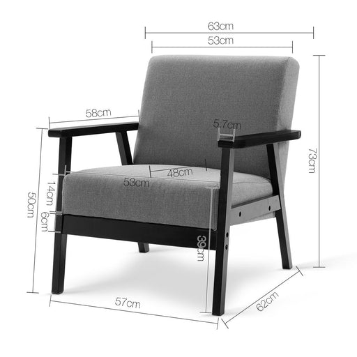 Deluxe Wide Fabric Arm Chair - Black & Grey | FREE DELIVERY - OzChairs.com.au™
