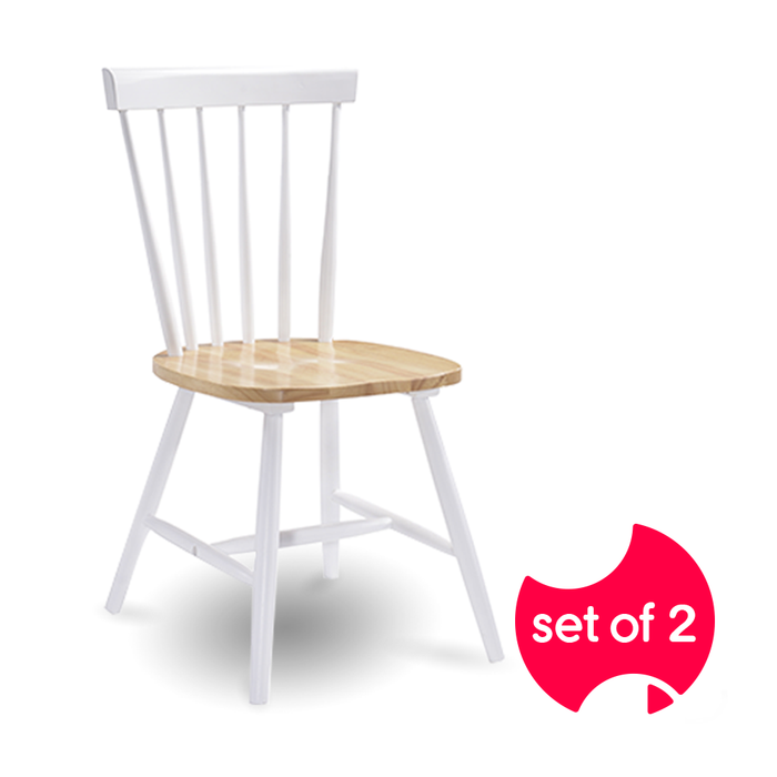 Set of 2 Solid Rubberwood White Dining Chairs with Danish Natural Oak Accents | FREE DELIVERY - OzChairs.com.au™