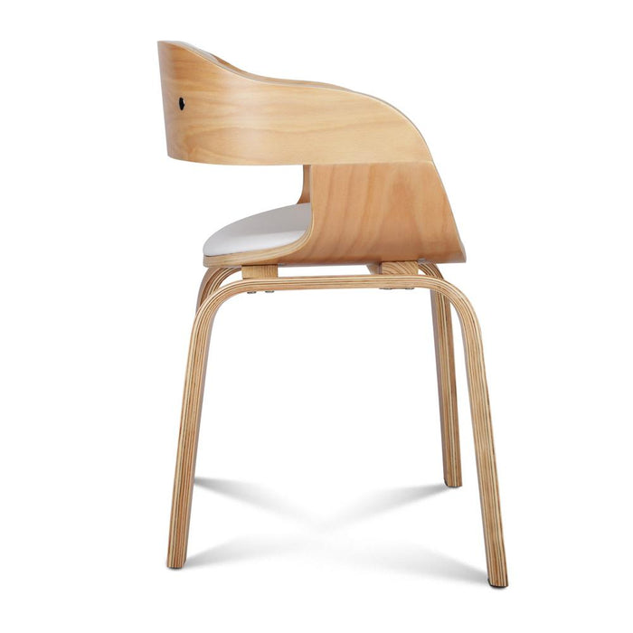 Curved Wooden Dining Chair with Padded Seat - White | FREE DELIVERY - OzChairs.com.au™