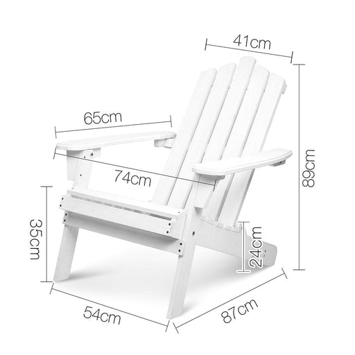 5 Piece Solid Timber Foldable Adirondack Chairs, Ottomans & Side Table - White | FREE DELIVERY - OzChairs.com.au™