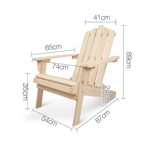 3 Piece Solid Timber Foldable Adirondack Chairs & Side Table - Natural | FREE DELIVERY - OzChairs.com.au™