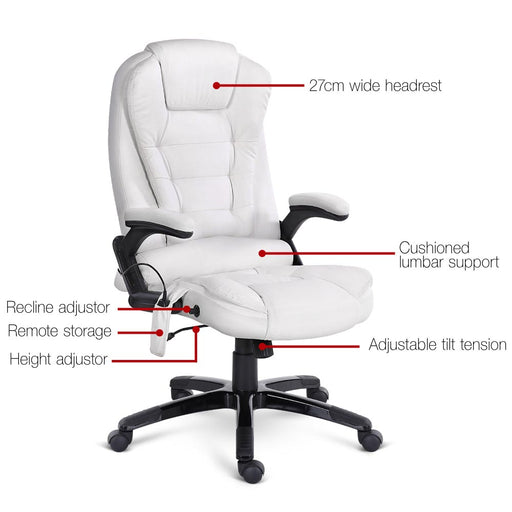 PU Leather Reclining 8-point Massage Office Chair - White | FREE DELIVERY - OzChairs.com.au™