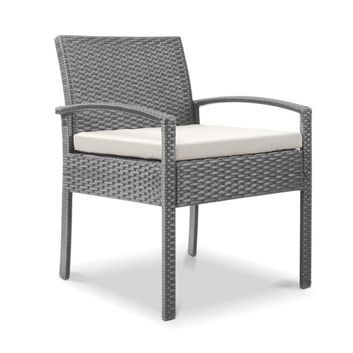 Premium Outdoor Wicker Bistro Chair - Warm Grey | FREE DELIVERY - OzChairs.com.au™