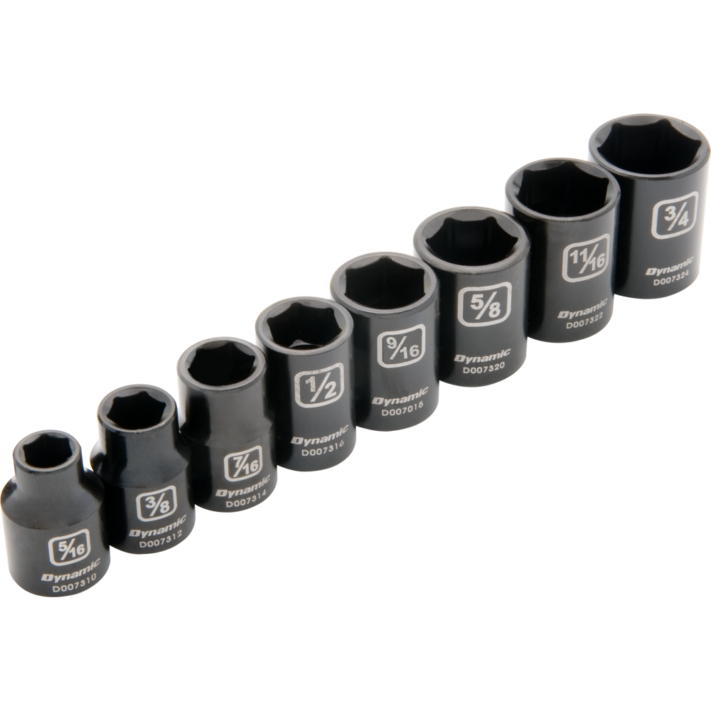 8 Piece 6 Point Standard SAE Impact Socket Set Part No. D010020