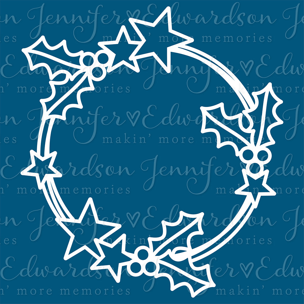 HOLLY & STAR WREATH Cut File